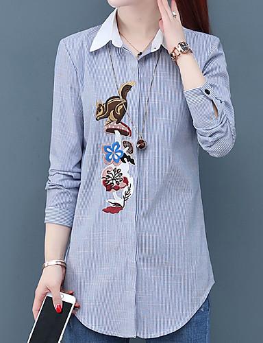 billige Dametopper-Skjorte Dame - Stripet, Broderi Chinoiserie Blå