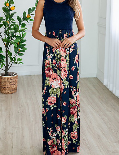 voordelige Maxi-jurken-Dames Recht Jurk - Bloemen Maxi