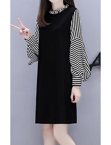 voordelige Grote maten jurken-Dames A-lijn Klein en zwart Jurk - Gestreept Boven de knie