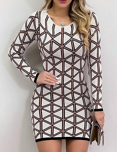 voordelige Maxi-jurken-Dames Standaard Bodycon Jurk - Geometrisch, Print Maxi