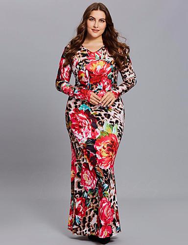 voordelige Grote maten jurken-Dames Street chic Elegant A-lijn Bodycon Schede Jurk - Geometrisch Luipaard Sneeuwvlok, Print Maxi roze