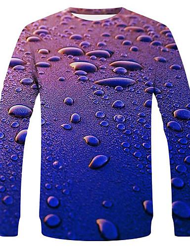 voordelige Heren T-shirts & tanktops-Heren Street chic / overdreven T-shirt Effen / Polka dot / Grafisch blauw