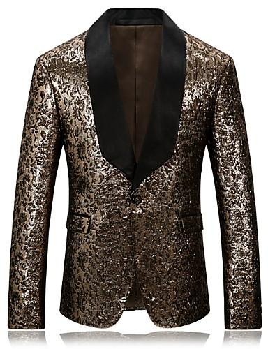 voordelige Herenblazers & kostuums-Heren Blazer, Geometrisch V-hals Polyester Goud