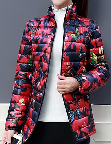 voordelige Dames donsjassen & parka's-Dames Bloemen Normaal Gewatteerd, Polyester Zwart / Rood XL / XXL / XXXL