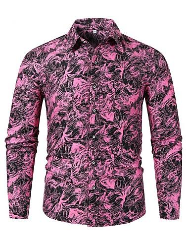 voordelige Herenoverhemden-Heren Overhemd Geometrisch Paars