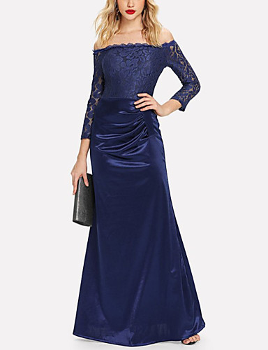voordelige Maxi-jurken-Dames Standaard Schede Jurk - Effen Maxi
