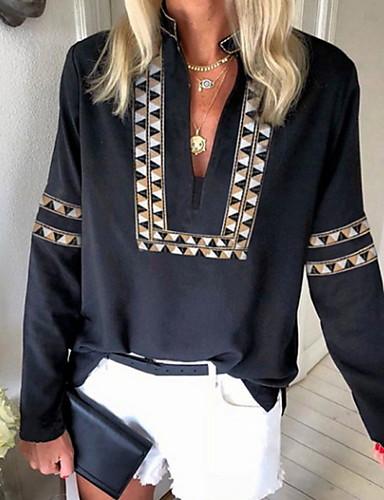 povoljno Ženske majice-Majica s rukavima Žene Dnevno Geometrijski oblici Crn