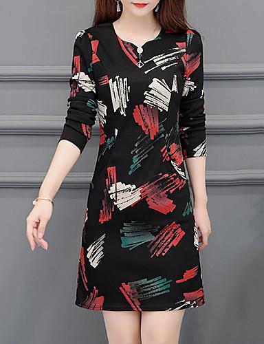 voordelige Grote maten jurken-Dames Street chic Elegant A-lijn Jurk - Bloemen, Geplooid Boven de knie