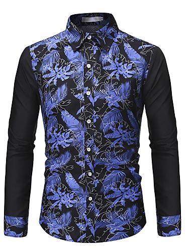 voordelige Herenoverhemden-Heren Elegant Jacquard Overhemd Kleurenblok Zwart