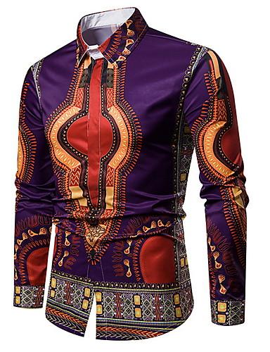 voordelige Herenoverhemden-Heren Overhemd Geometrisch Zwart