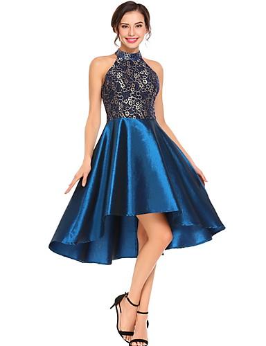 voordelige Grote maten jurken-Dames Standaard A-lijn Jurk - Effen, Pailletten Asymmetrisch