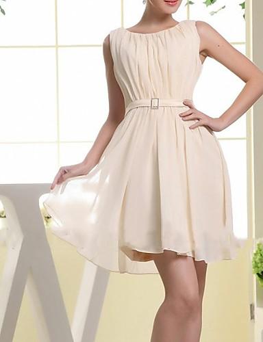 رخيصةأون قبل التنزيلات-A-الخط جوهرة قصير بوليستر فستان مع شريط و شاح / طيات بواسطة LAN TING Express