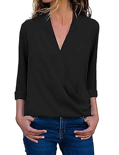 billige Dametopper-T-skjorte Dame - Ensfarget, Lapper Grunnleggende Svart / Hvit Svart