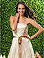 זול שמלות שושבינה-גזרת A נסיכה סטרפלס באורך הקרסול תחרה שמלה לשושבינה  עם פפיון(ים) תחרה סרט על ידי LAN TING BRIDE®