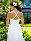 abordables Robes de Mariée-Fourreau / Colonne Bijoux Traîne Brosse Mousseline de soie Robes de mariée personnalisées avec Billes Drapée sur le côté par LAN TING