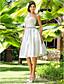 baratos Vestidos de Casamento-Linha A Princesa Decote Princesa Até os Joelhos Cetim Vestidos de noiva personalizados com Miçangas Faixa / Fita Cruzado de LAN TING
