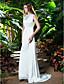 preiswerte Hochzeitskleider-Eng anliegend Bateau Hals Pinsel Schleppe Chiffon Benutzerdefinierte Brautkleider mit durch LAN TING BRIDE®
