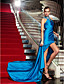 Sheath / Column High Neck Floor Length Jersey Formal Evening Military Ball Dress with Crystal Detailing Side Draping by TS Couture®
