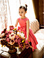 Vestido de uma menina com flor de chá com uma linha - Vestido de noiva de manga curta de cetim by lan ting bride®