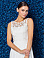 preiswerte Abendkleider-Eng anliegend Schmuck Boden-Länge Chiffon Spitze Abiball / Formeller Abend Kleid mit Schärpe / Band durch TS Couture®