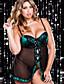 preiswerte Damen Nachtwäsche-Damen Übergrössen Sexy Babydoll & slips Nachtwäsche - Spitze Gitter, Solide Patchwork