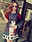 hesapli Kadın Elbiseleri-Kadın's Karpuz Kol A Şekilli Elbise - Desen Diz üstü / Sonbahar