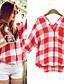 baratos Blusas Femininas-Camisa Casual(Algodão)MULHERES-Casual / PestaDecote em V-1/2 de Comprimento de Manga