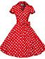 ieftine Regina Vintage-Pentru femei Ieșire Vintage Bumbac Linie A Rochie Buline Guler Cămașă Lungime Genunchi