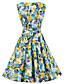 Bayanlar Pamuklu Diz-boyu Kolsuz Yuvarlak Yaka Çiçekli Bayanlar Elbise