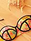 olcso Bikinik és fürdőruhák 2017-Női,Poliészter Megkötős Push-up Bikini Virágmintás Push-up Boho Nyomtatott