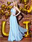 저렴한 프롬 드레스-TS couture® 공식적인 저녁은 라인을 레이스 어깨 하나 층 길이 쉬폰 / 레이스 드레스