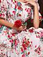 Damen Hülle / Chiffon Kleid-Party/Cocktail Boho Blumen Trägerlos Maxi Kurzarm Weiß Seide / Polyester Alle Saisons