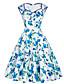 Vrouwen Casual/Dagelijks Street chic Wijd uitlopend Jurk Bloemen-Sweetheart Tot de knie Mouwloos Blauw / Roze / Paars Katoen / Polyester