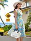 baratos Vestidos de Mulher-Mulheres Chifon / Swing Vestido,Férias / Praia Sensual / Vintage / Boho Floral Decote V Altura dos Joelhos Sem Manga Azul Poliéster Verão