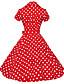 Mulheres Swing Vestido,Formal / Trabalho / Tamanhos Grandes Vintage Poá Colarinho de Camisa Altura dos Joelhos Manga CurtaAzul / Rosa /