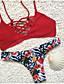 voordelige Bikini's & Badmode 2017-Dames Dierenprint Halter Bikini Zwemkleding Bloemen,Rood
