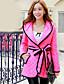 저렴한 코트 & 트렌치 코트-여성의 솔리드 후디 긴 소매 코트 핑크 면 / 폴리에스테르 / 스판덱스 겨울 두꺼움