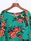 billige Overdele til damer-3/4 ærmelængde V-hals Medium Kvinders Sort / Grøn Blomstret Forår / Efterår Vintage Casual/hverdag Bluse,Bomuld / Hør