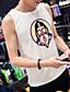 billige T-skjorter og singleter til herrer-Spandex Tynn Ermeløs,Rund hals Singleter Ensfarget Trykt mønster Sommer Enkel Sexy Fritid/hverdag Plusstørrelser Herre