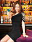 זול שמלות נשים-פוליאסטר / ספנדקס מעל הברך צווארון סירה אחיד שמלה צינור סקסי / סגנון רחוב נשים