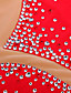 preiswerte Eiskunstlaufkleider-Eiskunstlaufkleid Damen / Mädchen Eislaufen Kleider Rot Strass Hochelastisch Leistung Eiskunstlaufkleidung Handgemacht Patchwork Ärmellos