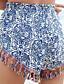 abordables Pantalones para Mujer-Mujer Tejido Oriental Delgado / Shorts Pantalones - Tribal Borla / Estampado Azul Piscina / Festivos