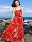 baratos Vestidos de Mulher-Mulheres balanço Vestido - Estampado Com Alças Cintura Alta Longo