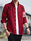billige Herreskjorter-Bomull Skjorte Herre-Ensfarget Stripet Rutet Vintage Fritid Gatemote Klubb