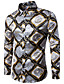 cheap Men's Shirts-Men's Party Chinoiserie Cotton Slim Shirt - Abstract Print / Long Sleeve