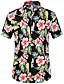 baratos Camisas Masculinas-Homens Camisa Social Floral Algodão