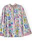 billige Skjorter til damer-Bomull Medium Langermet,Rund hals Skjorte Blomstret Høst Søtt Gatemote Fritid/hverdag Ut på byen Dame