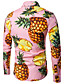 cheap Men's Shirts-Men's Work Cotton Shirt - Fruit Pineapple, Print / Long Sleeve