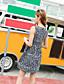 Damen Hülle Kleid-Ausgehen Lässig/Alltäglich Druck Rundhalsausschnitt Übers Knie Ärmellos Andere Sommer Mittlere Hüfthöhe Mikro-elastisch