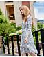 preiswerte Damen Kleider-Damen Swing Kleid-Ausgehen Niedlich Druck Ständer Midi Langarm Polyester Herbst Mittlere Hüfthöhe Mikro-elastisch Mittel